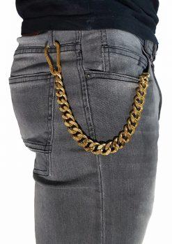 Nyckelkedja med karbinhake grov guld från sidan