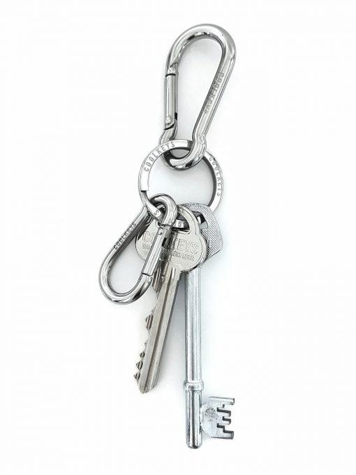 Karbinhake med nyckelring rostfri