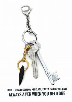 Liten penna nyckelring guld