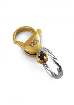 Liten hake med nyckelring guld